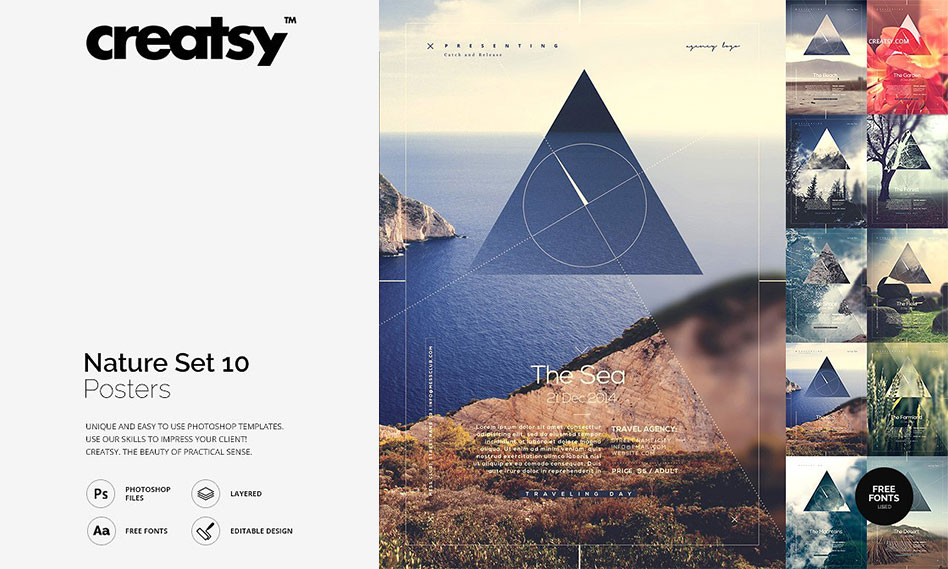 مجموعه 10 طرح لایه باز پوستر انتزاعی طبیعت با فرمت PSD